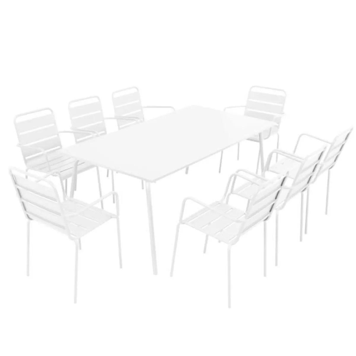 Alice\'s Garden Salon De Jardin Aluminium Table 180cm, 8 Fauteuils En ...