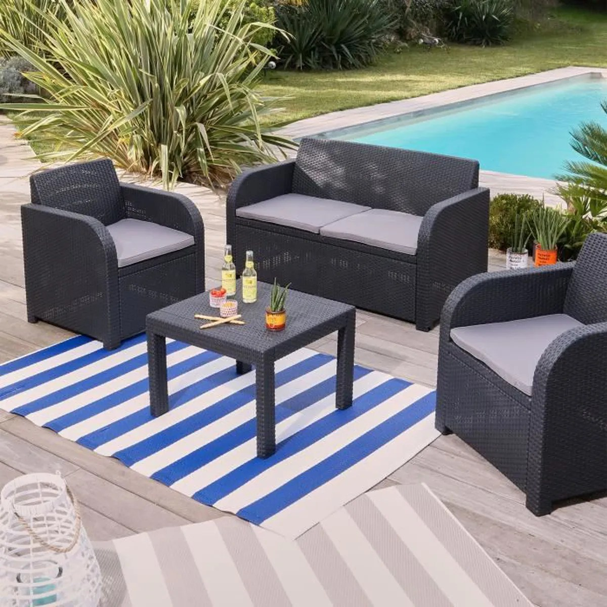 Discount Salon De Jardin Georgia Salon De Jardin Gris Anthracite Finition Rotin