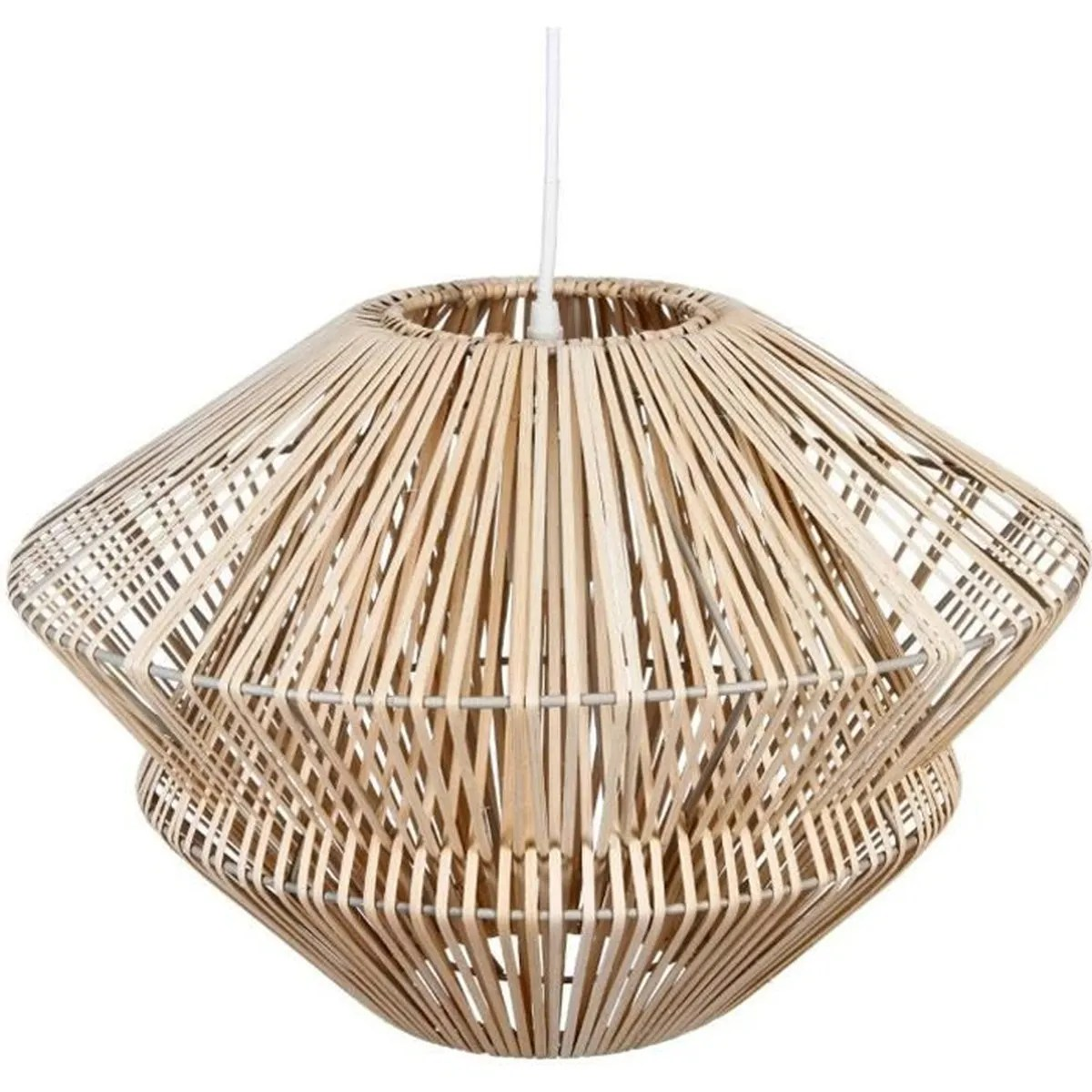 Plafonnier Bois Naturel Grande Suspension Lustre En Rotin Diamètre 48 Cm Bois Naturel