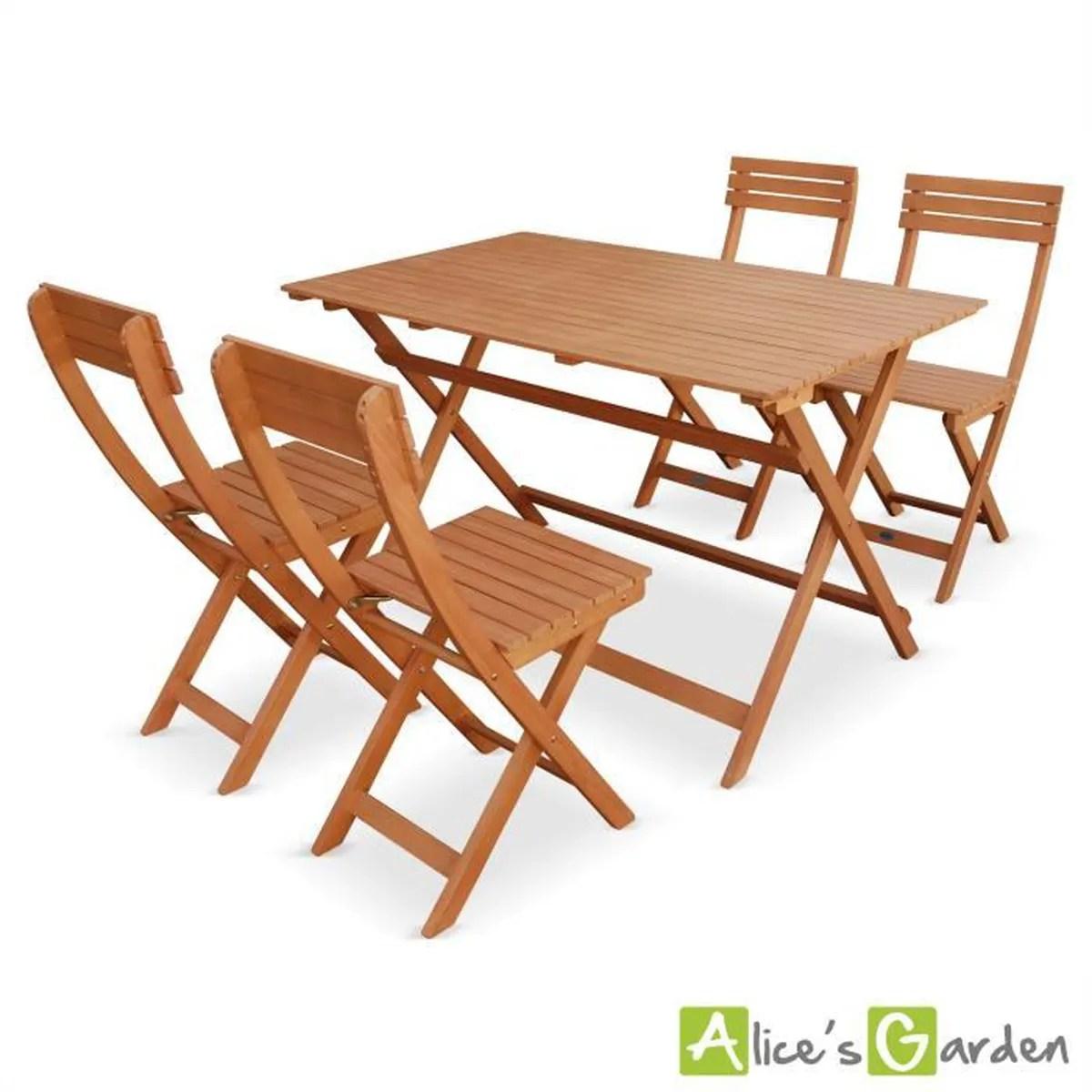 Salon De Jardin En Teck Avec Table Et Chaises Pliantes