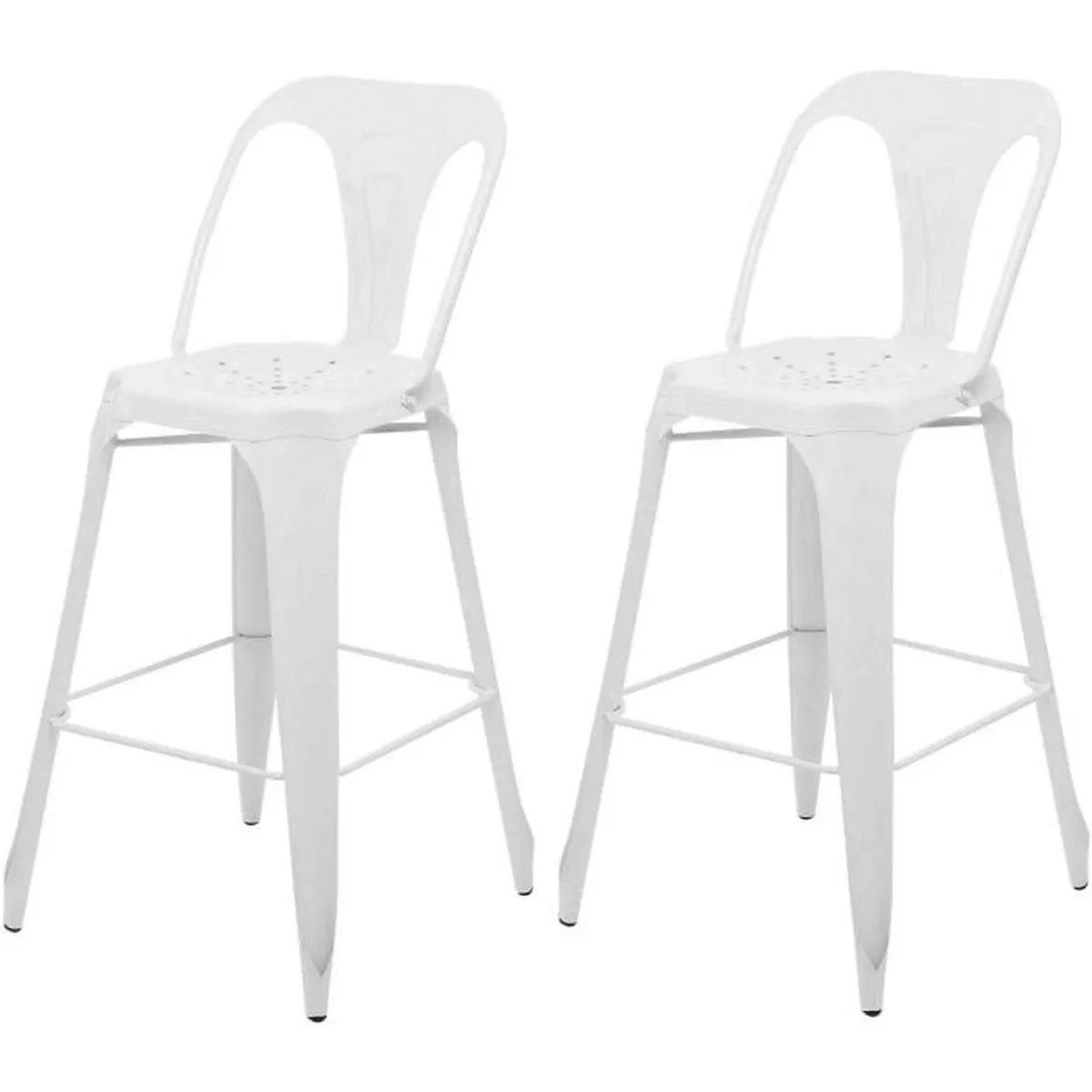 Lot De 2 Tabourets De Bar Smiley Tabouret De Bar Industriel Avec Dossier Achat Vente