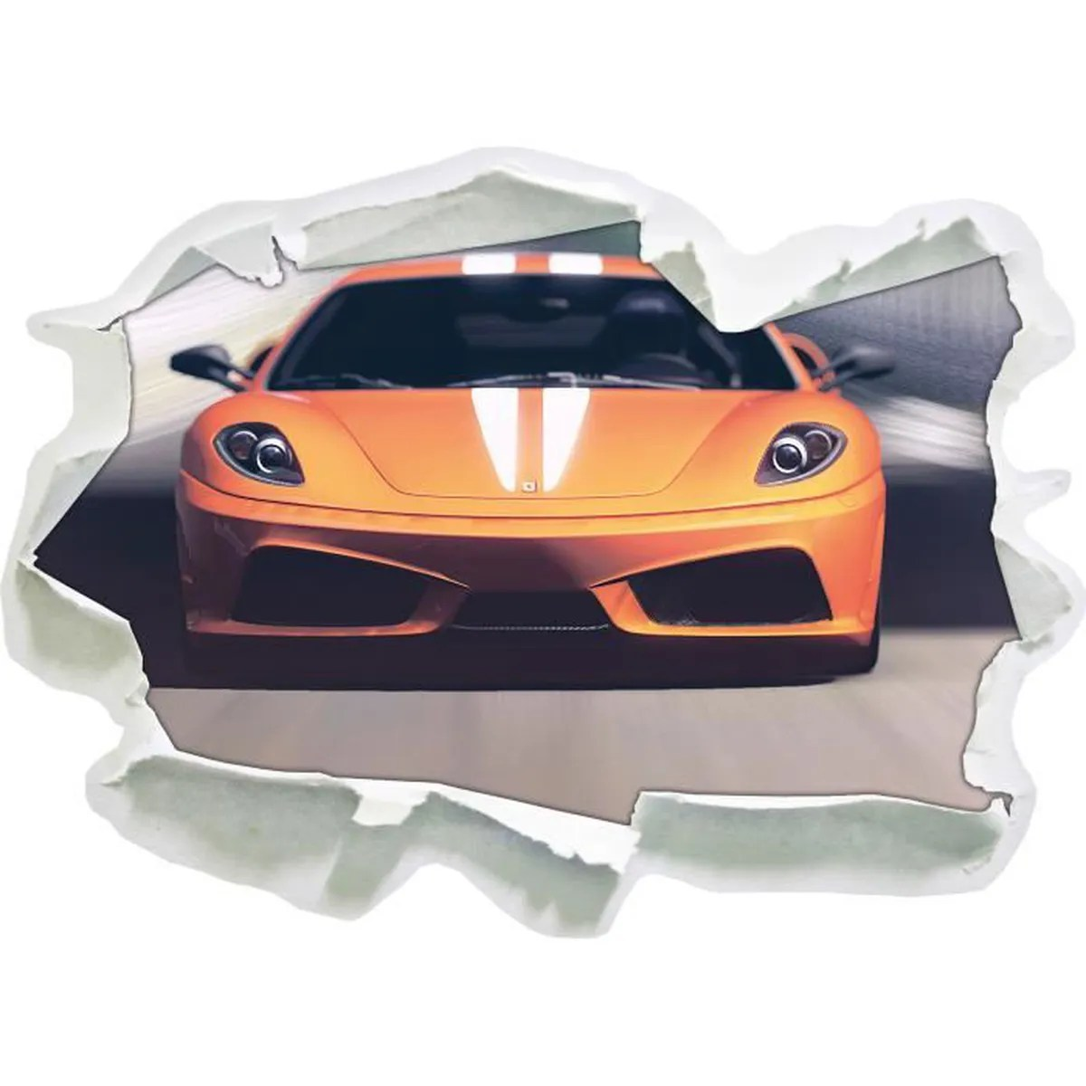 Decoration 3d Murale Orange Lamborghini Papier 3d Taille Sticker Mural 62x45 Cm