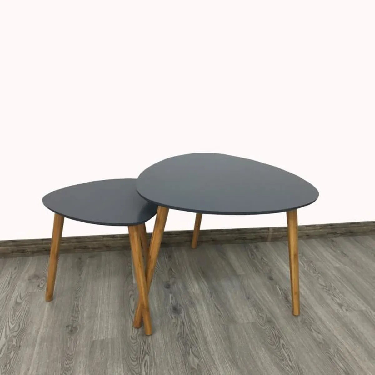 Table Basse Gigogne Design Lot De 2 Tables Basses Gigognes Style Scandinave Grises