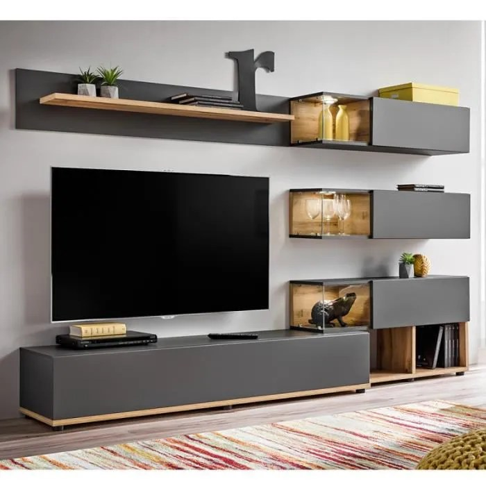Paris Prix Meuble Tv Design Silk 240cm Gris Naturel - Meuble Tv Design Suisse