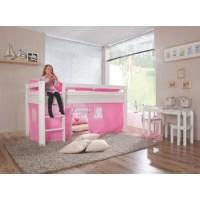 Lit mezzanine pour fille coloris rose et blanc - Achat ...