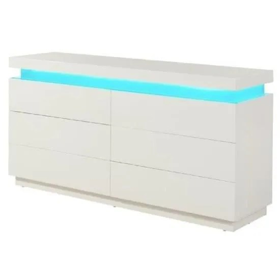 Armoire Dressing Cdiscount Flash Commode Contemporain Blanc Brillant - L 150 Cm