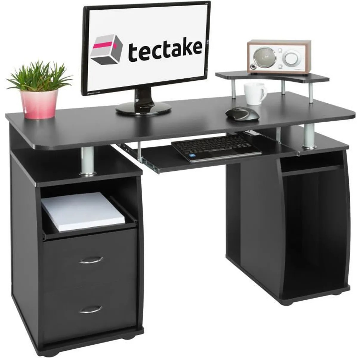 Bureau Informatique Design Tectake Bureau Design Informatique Pour Ordinateur 115 Cm X 55 Cm