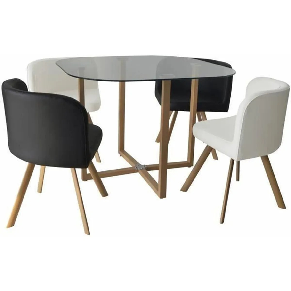 Table Avec Chaise Encastrable Ensemble Table 43 4 Chaises Encastrable Noir Et Blanc Flen