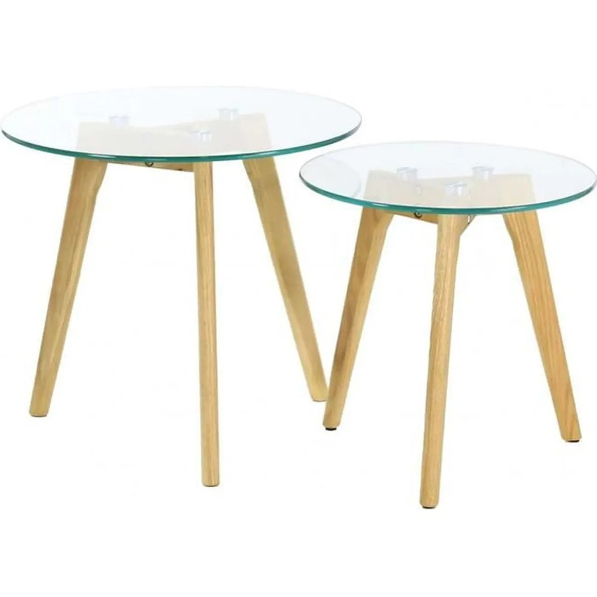 Tables Gigognes Lot De 2 Tables Gigognes En Bois Et Verre Trempé Coloris Transparent
