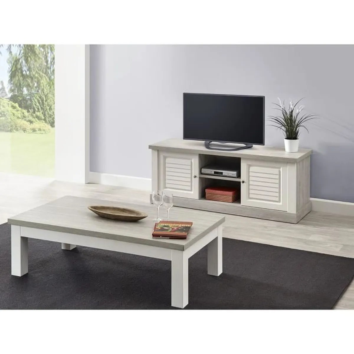 Ensemble Meuble Tv Table Basse Conrad Ensemble Table Basse Et Meuble Tv Blanc Achat Vente