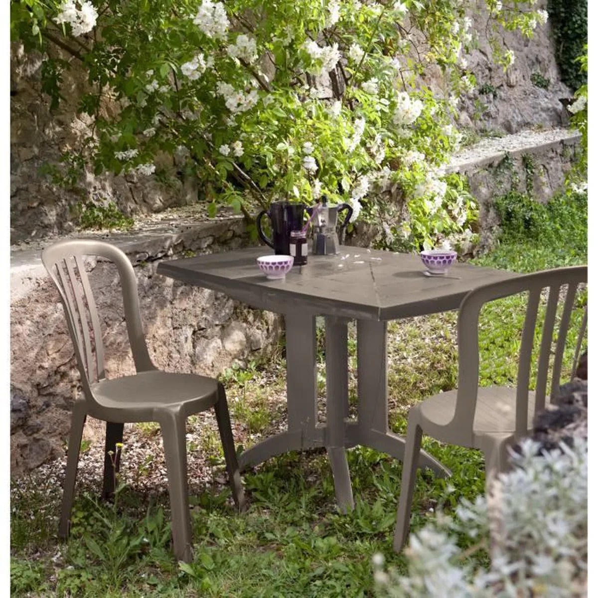 Salon De Jardin Table Chaise Salon De Jardin Table Vega Taupe 2 Chaises Miami Bistrot Taupe