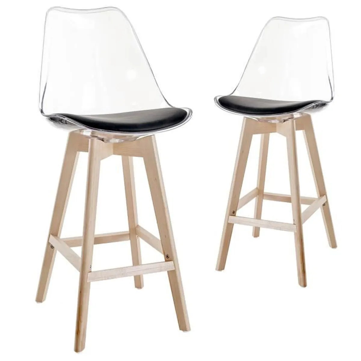 Lot De 2 Tabourets De Bar Clark Lot De 2 Tabourets De Bar Scandinaves Transparent Noir Achat