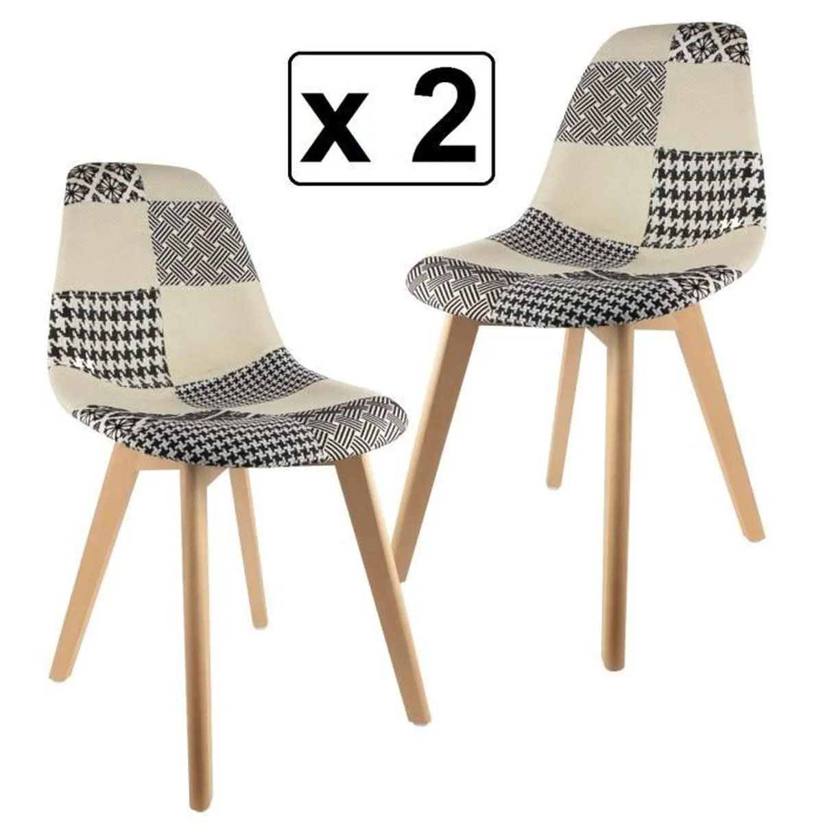 Chaise Design Patchwork Lot De 2 Chaises Design Patchwork Style Contemporain Noir Et
