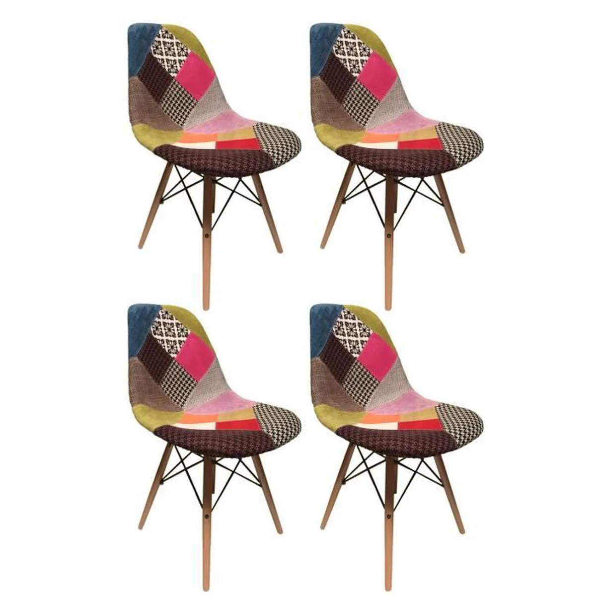 Lot 6 Chaises Scandinaves Chaise Patchwork - Achat / Vente Chaise Patchwork Pas Cher