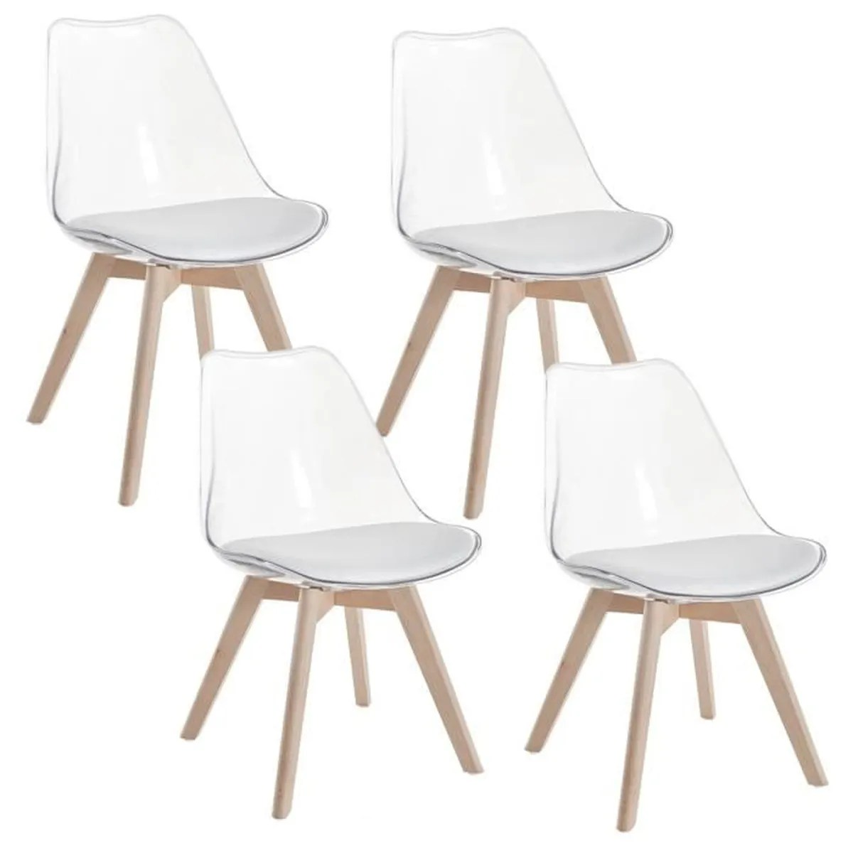 Lot 4 Chaises Transparentes Lot De 4 Chaises Scandinaves Transparentes Blanc Gala Achat