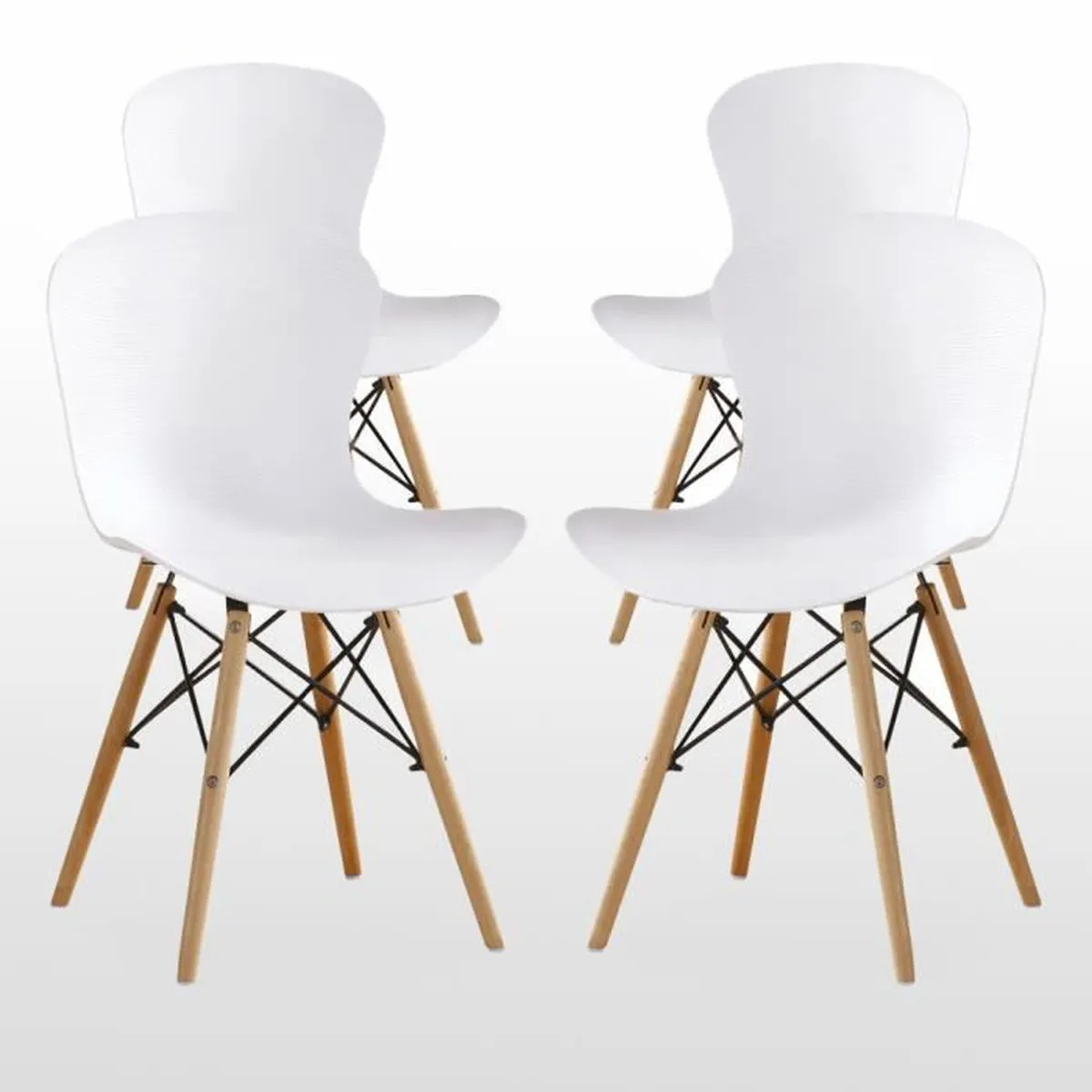 De Salon Blanc Lot De 4 Moderne Chaise De Salon Blanc Design Scandinave Élégant