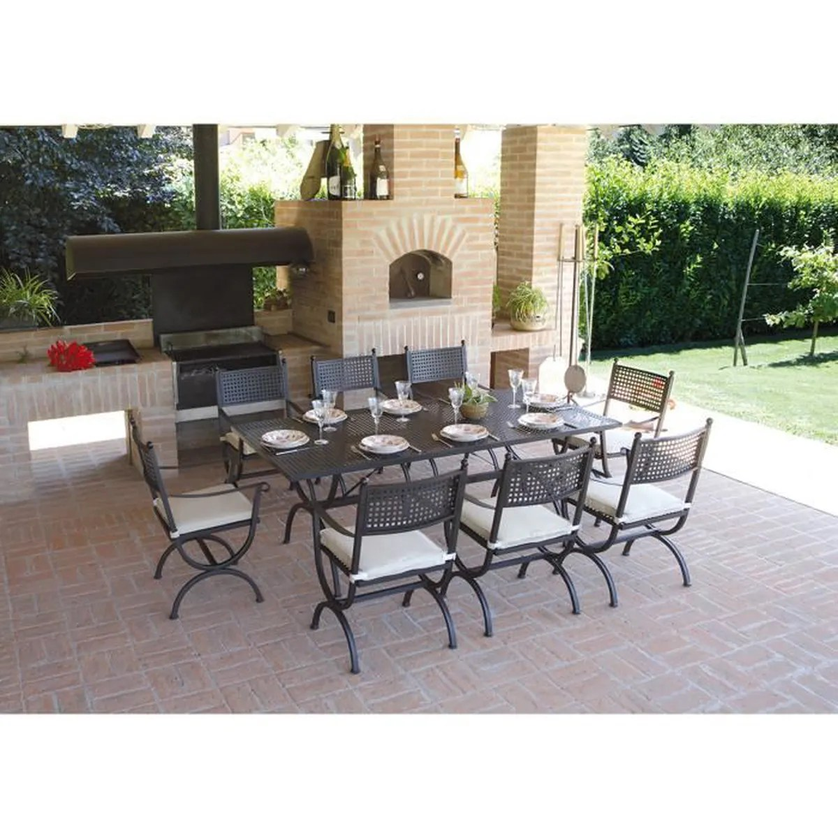Salon De Jardin Table Chaise Ensemble De Jardin Table Rectangulaire 8 Chaises En Fer Forgé Noir H 74 X L 200 X P 100 Cm