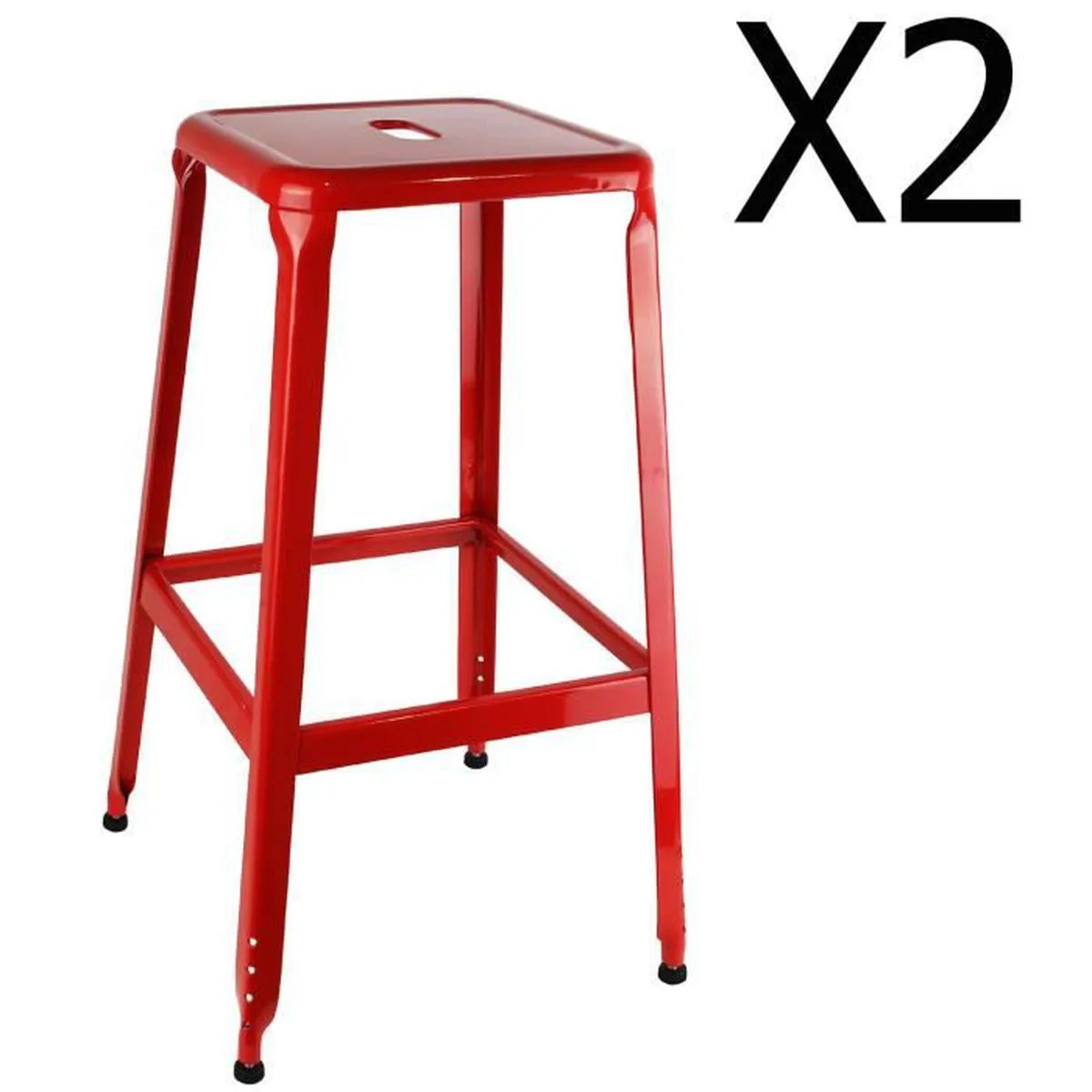 Tabourets De Bar En Metal Lot De 2 Tabouret De Bar Metal Rouge Achat Vente Lot