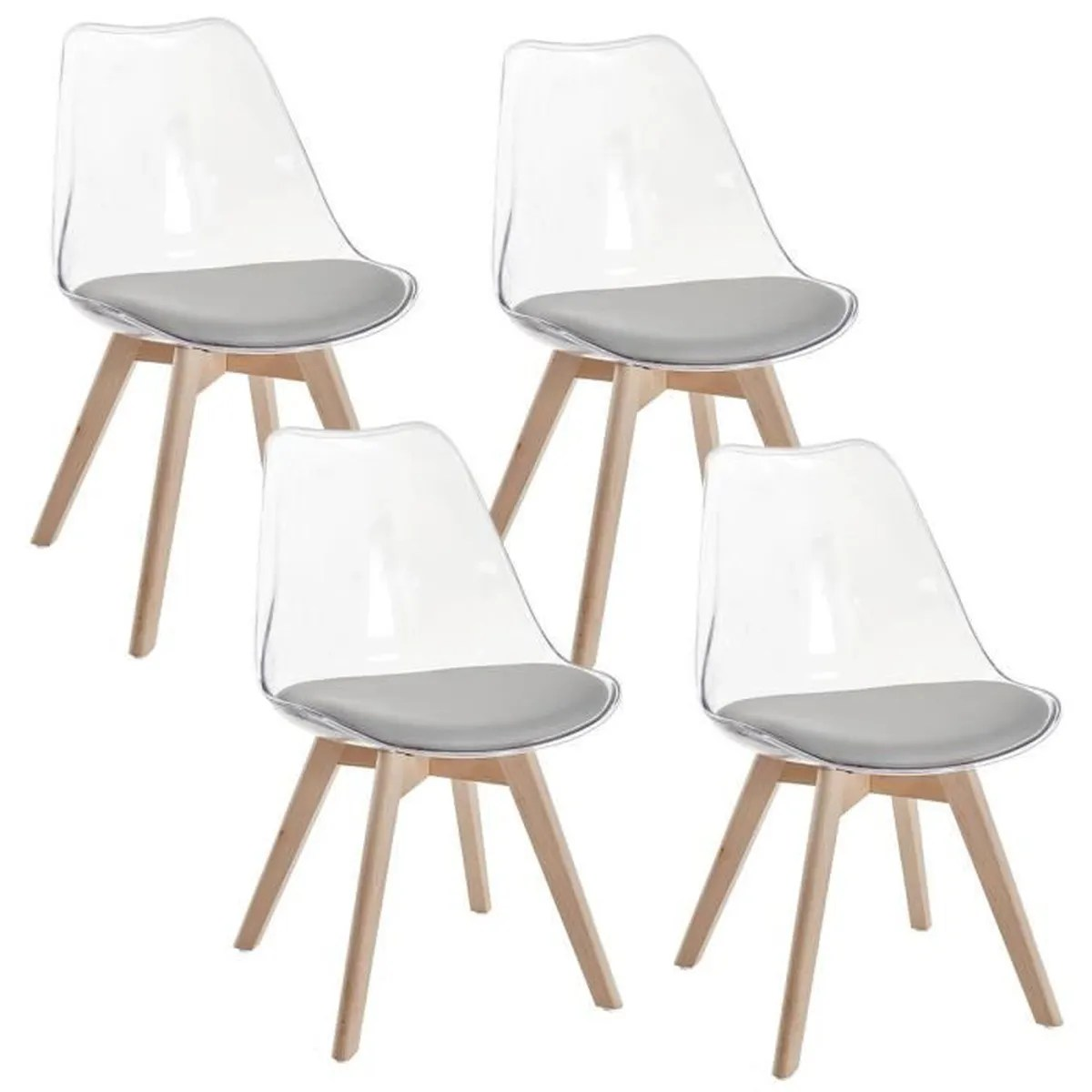 Lot 4 Chaises Transparentes Lot De 4 Chaises Scandinaves Transparentes Gris Gala Achat