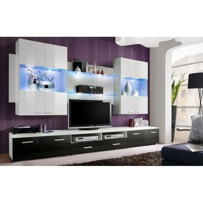 Meuble De Salon Tv Meuble De Salon Tv Design Complet Mesh + Led - Achat