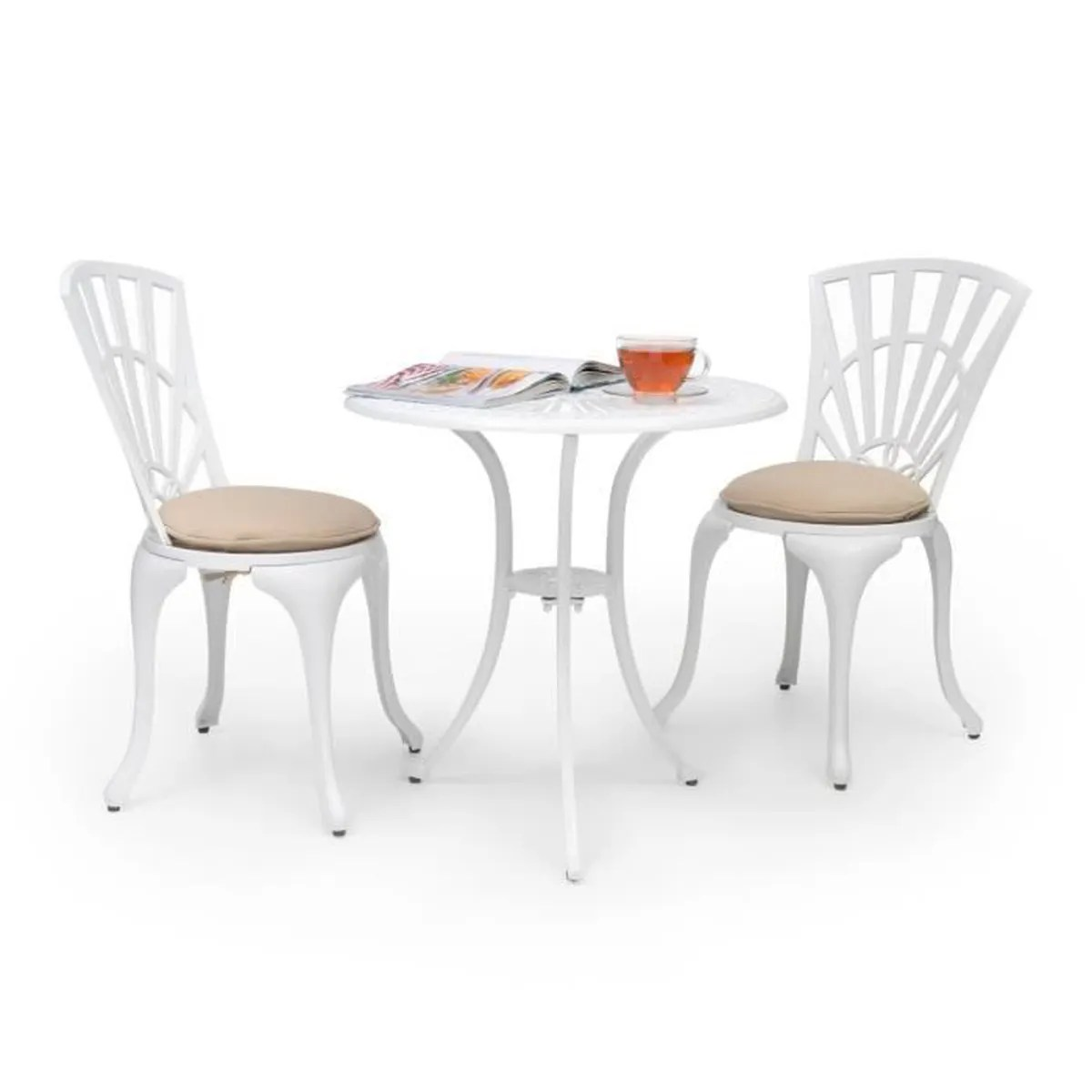 Salon De Jardin Bistrot Aluminium Blumfeldt Valletta Set Bistrot Table 2 Chaises Coussins Alu