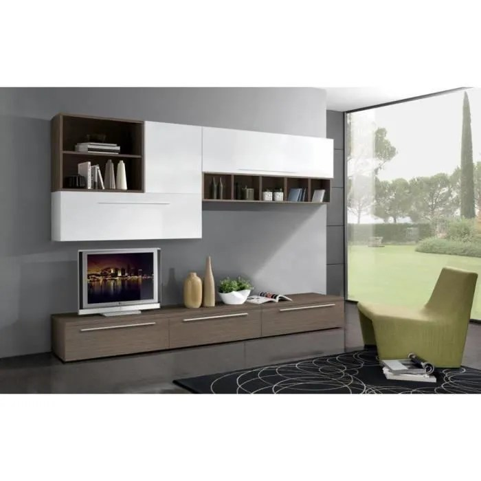 Meuble Tv Composition Murale Composition Murale Tv Design Twist Noyer Et Blanche