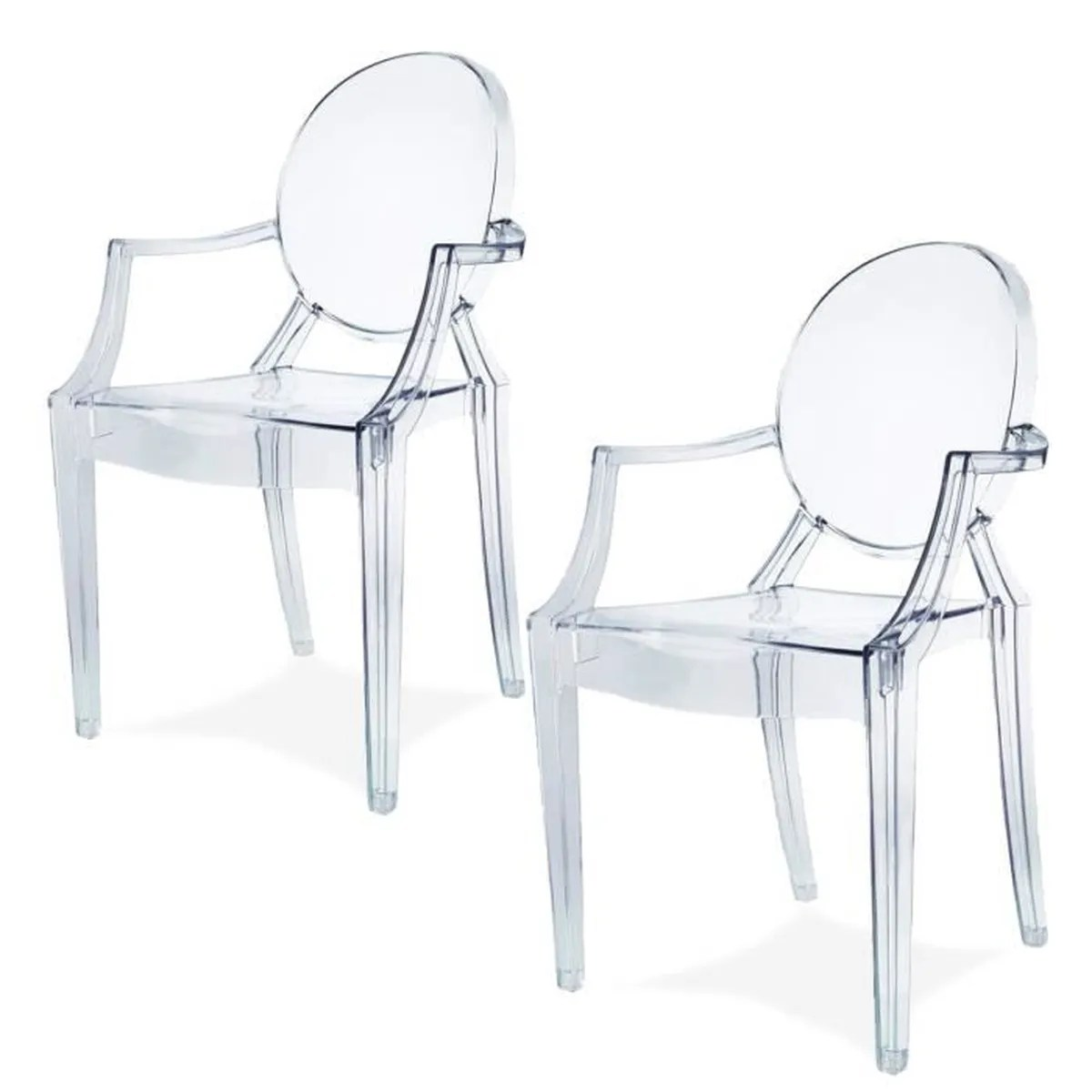 Fauteuil Ghost Damiware Lot De 2 Plexiglas Acrylique Ghost Chair Accoudoir Chaise