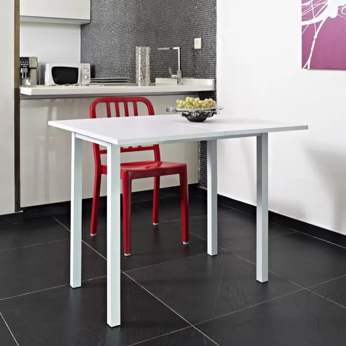 Meuble Design Discount Kitchen Table Extensible 80x45/80cm Blanche - Achat