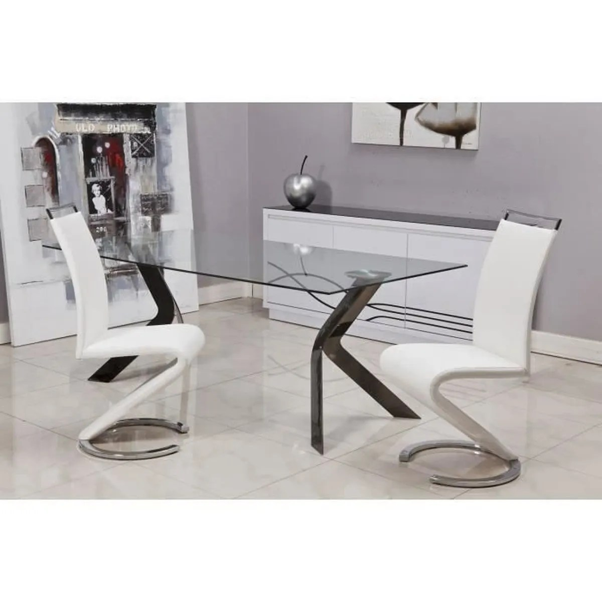 Chaise Salon Blanche Sidney Lot De 6 Chaises Salon Blanc