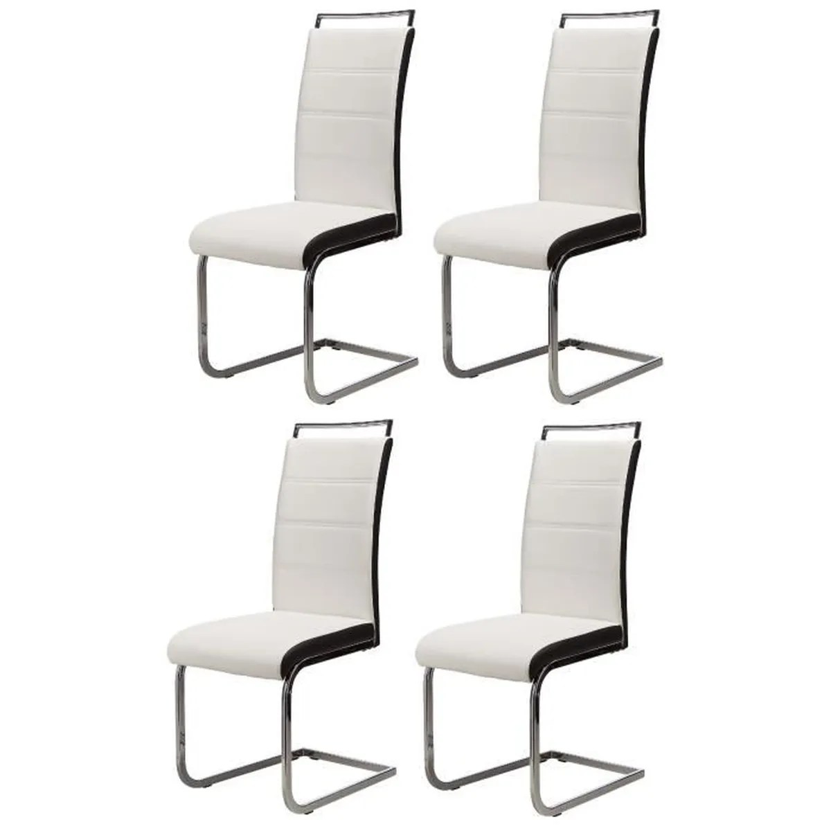 Chaise De Salon Blanche Dylan Lot De 4 Chaises Salon Blanc Noir Achat Vente Chaise