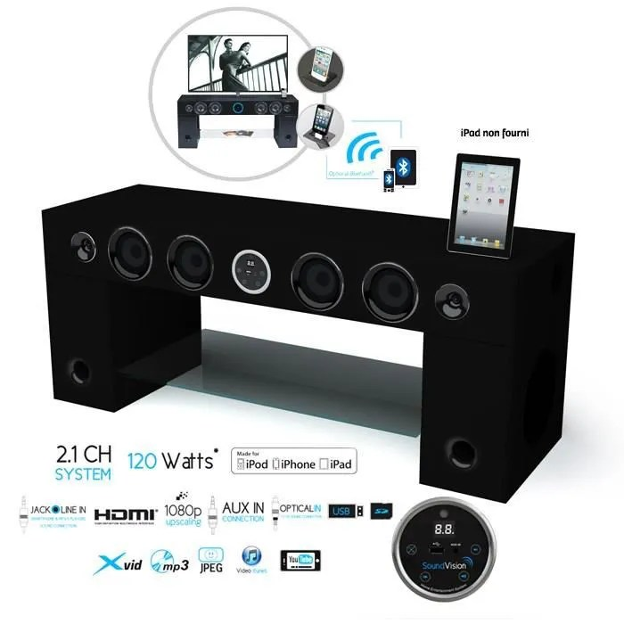 Meuble Support Tv Blanc Soundvision Soundstand100 Meuble Tv Hifi Bluetooth - Achat