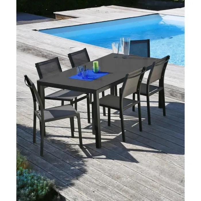 Salon De Jardin Allibert Gris Oman Ensemble Table Et Chaises Aluminium 6 Places - Gris