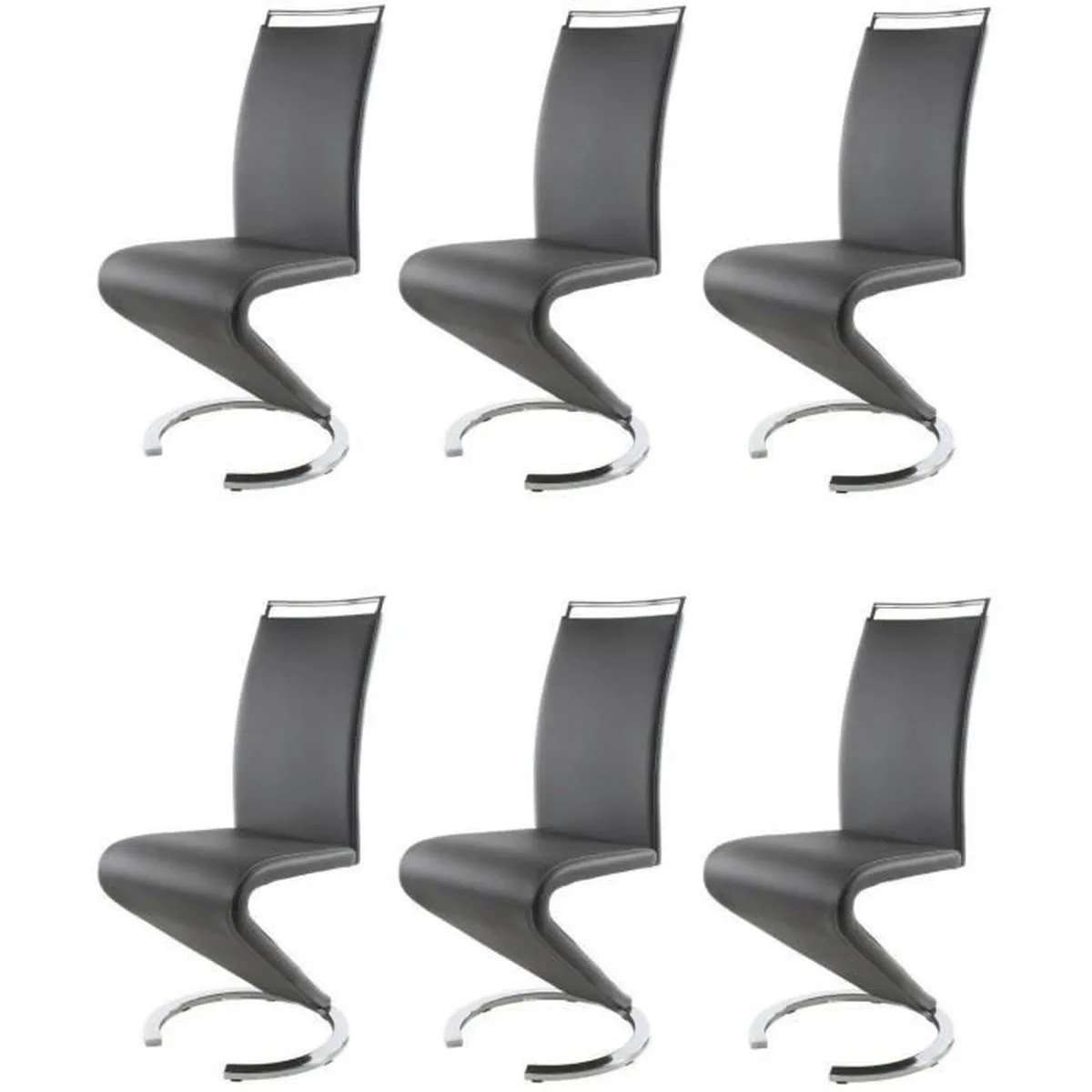 Chaise De Salon Sidney Lot De 6 Chaises Salon Gris Achat Vente Chaise Cdiscount