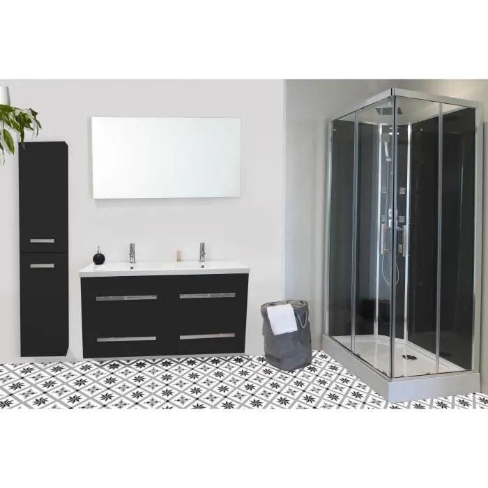 NUEVO Salle de bain complète double vasque L 120 cm - Gris