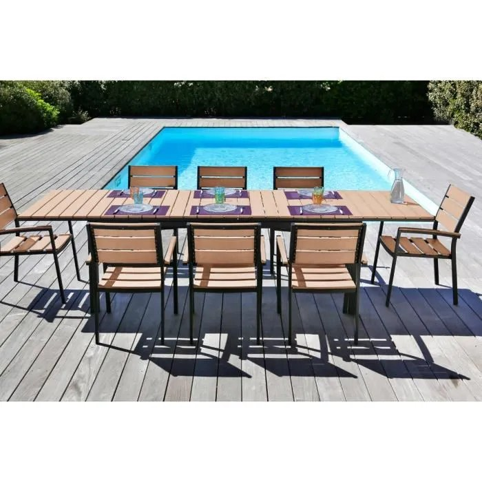 Moorea Salon De Jardin Ensemble Aspect Bois Table Extensible De Jardin 200 - 250