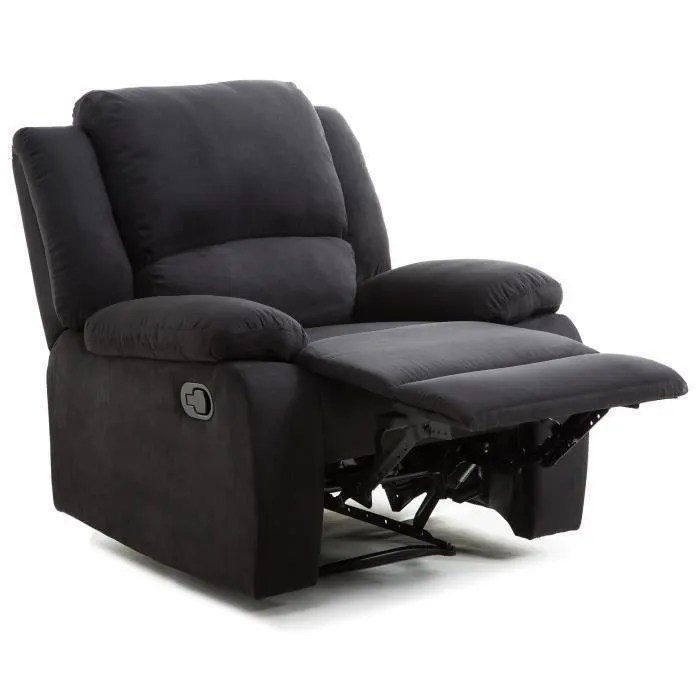 Fauteuil Relax Tissus Relax Fauteuil Relaxation - Tissu Noir - Style