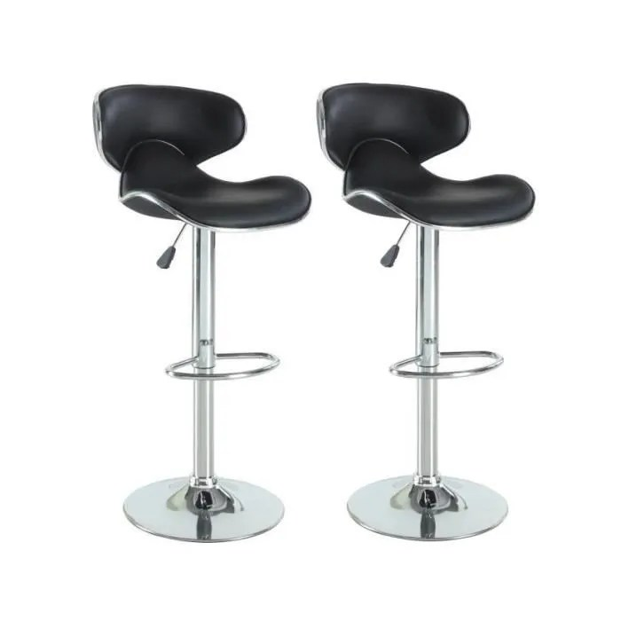 York Lot De 2 Tabourets De Bar En Simili Noir Achat - York Lot De 2 Tabourets De Bar Noir