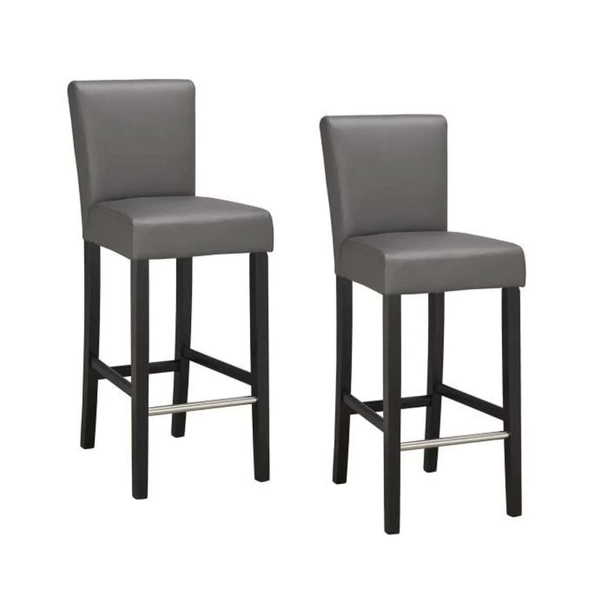 Elvis Lot De 2 Tabourets De Bar En Simili Gris Achat - York Lot De 2 Tabourets De Bar Noir