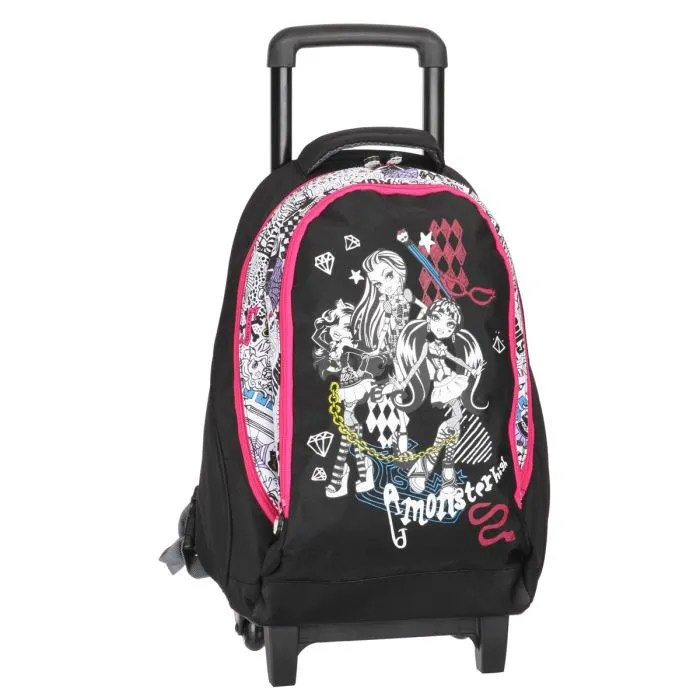 Monster High Sac à Dos à Roulettes Fille Noir Et Rose Achat Vente Sac à Dos Monster High Sac - Sac A Roulette