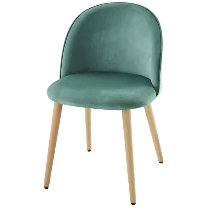 MACARON chaise de salle à manger - Velours vert - Scandinave - L 50