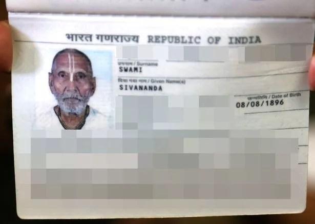 Swami Sivananda passport