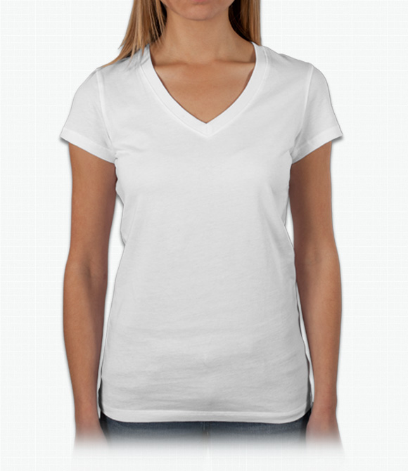V Neck T Shirt Custom Bella Ladies Baby Rib V-neck T-shirt - Design Online