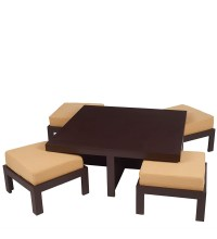 Trendy Coffee Table Set with Four Stools in Light Brown