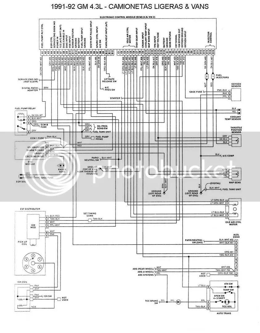 4 3 vortec Motordiagramma de cableado ecu