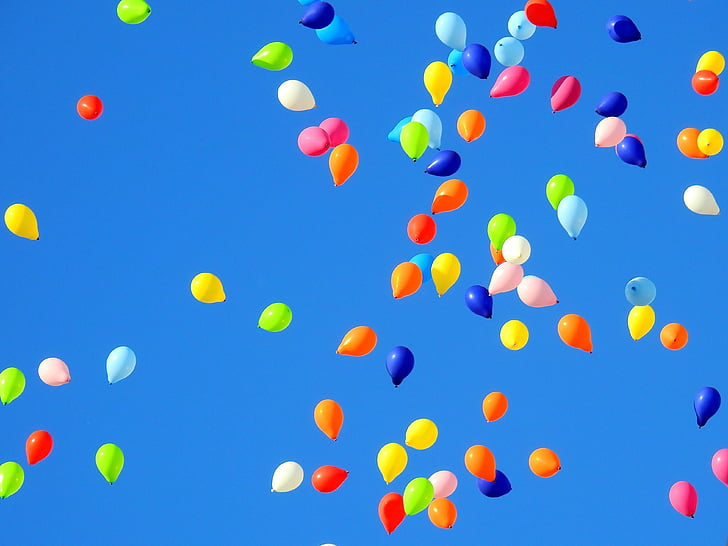 Royalty-Free photo Assorted-colored balloons floating in sky PickPik
