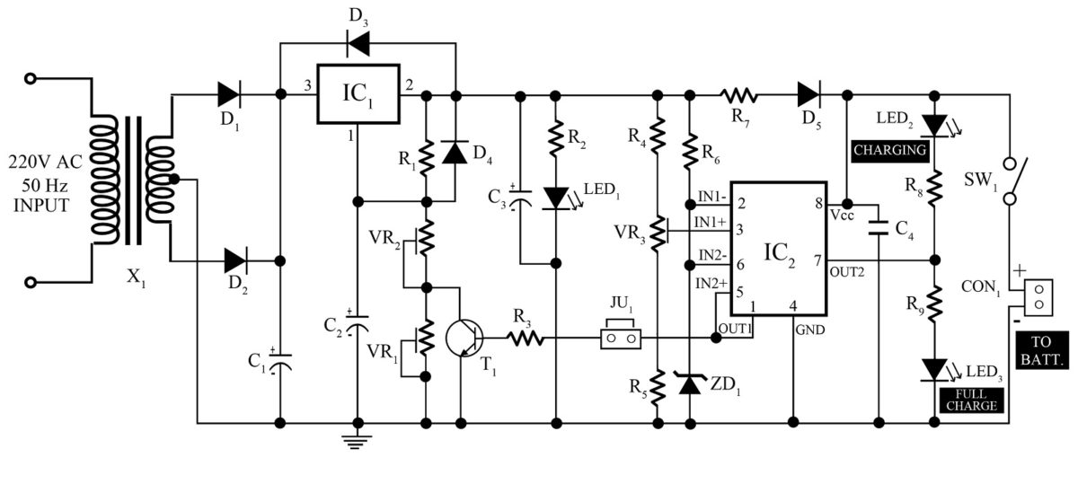 12v dc battery charger circuit diagram