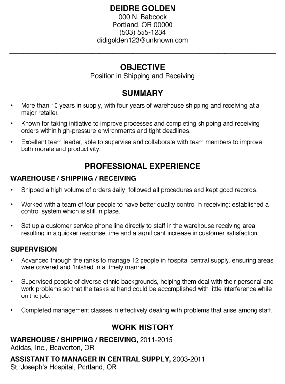 warehouse shipping and receiving resume samples