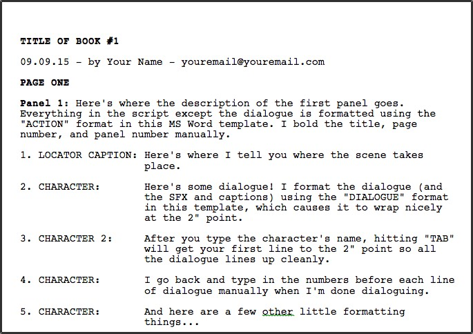 how to format a screenplay in word