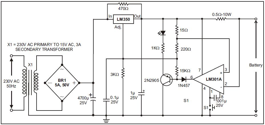 12 volt charger circuit with lm350