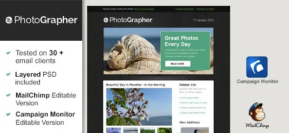 Free Html Email Template - Photographer - Free Mail Templates